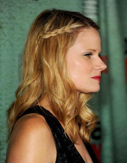 A half-up braid, as seen on Joelle Carter. Wear this anywhere, dressed up or down.