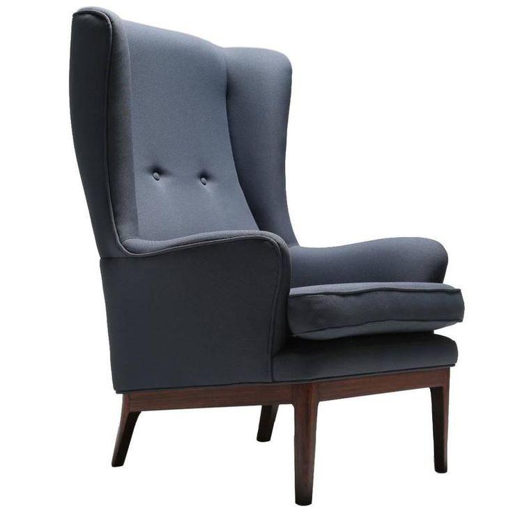 Arne Norell Wing Armchair, Hardwood Frame,Scandinavian Modern 1960s
