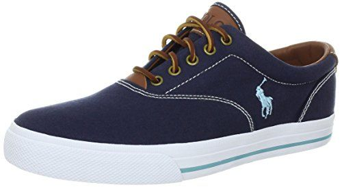 Polo Ralph Lauren Men\u0027s Vaughn Canvas/Leather Lace up casual | Fashion  Sneakers