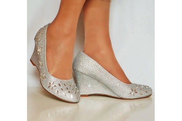 Silver Sparkly Diamante Wedge Low Mid Heel Evening Party Court Shoes ...