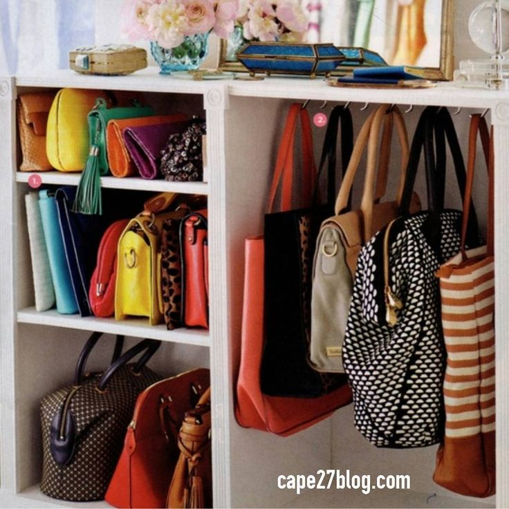 How cute is this for organizing your hand bags?? Do any of you have this many bags? I have one daily purse, a pink and brown Coach, a green Coach, a hand quilted one with birds, a few for evening and that's it.