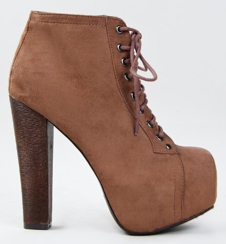 Lace Up Wooden Chunky High Heel Ankel Boot Bootie: Shoes