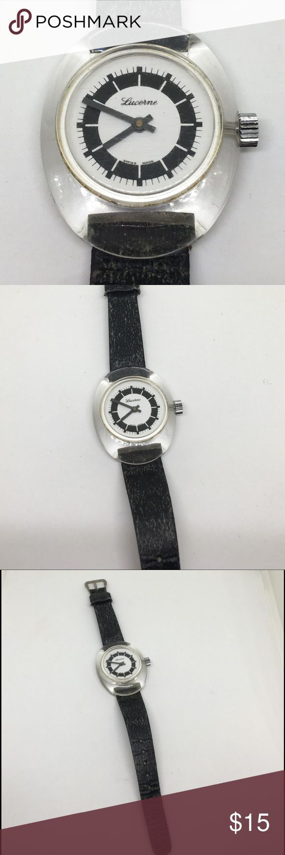 """🆕Vintage Lucerne Lucite Black & Watch A Lucerne watch in a very 80s style. 1.5"""" long and 1"""" wide clear lucite, with a black and white face. This watch doesn't need batteries; just wind and go! Works beautifully. Some wear on the band, but you can replace it if you want to. A really cool looking watch! And no batteries! What could be better!?! Lucerne Accessories Watches"""