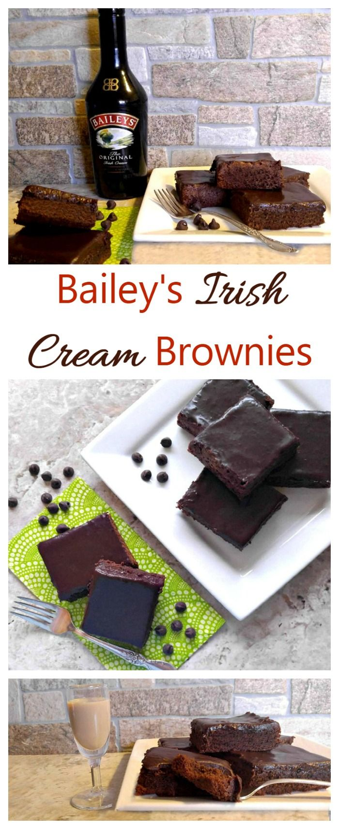 These Bailey's Irish Cream Brownie are rich, decadent and moist, with the most amazing ganache ever. Both the brownies and the ganache are flavored with Bailey's so this is a dessert for the grown ups. @baileysus