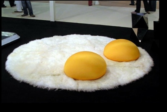 "So cute!! Plush white rug and yellow bean bag pillows to give a ""sunny-side up"" feel! Would love this with green yolks for a Seuss feel."
