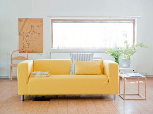 Canap ikea housse jaune bemz salon pinterest deco for Housse sofa ikea