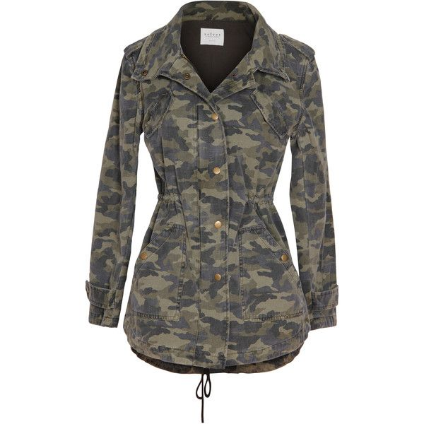 Velvet by Graham and Spencer Darla Camo Army Jacket ($212) ❤ liked on Polyvore featuring outerwear, jackets, green, zip jacket, green military jacket, camo field jacket, camouflage jacket and camoflauge jacket