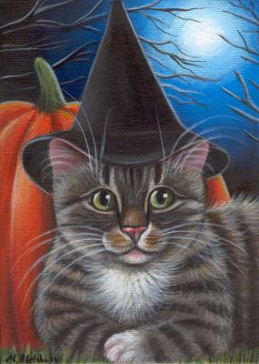 Tabby Cat - Halloween Painting in Acrylics