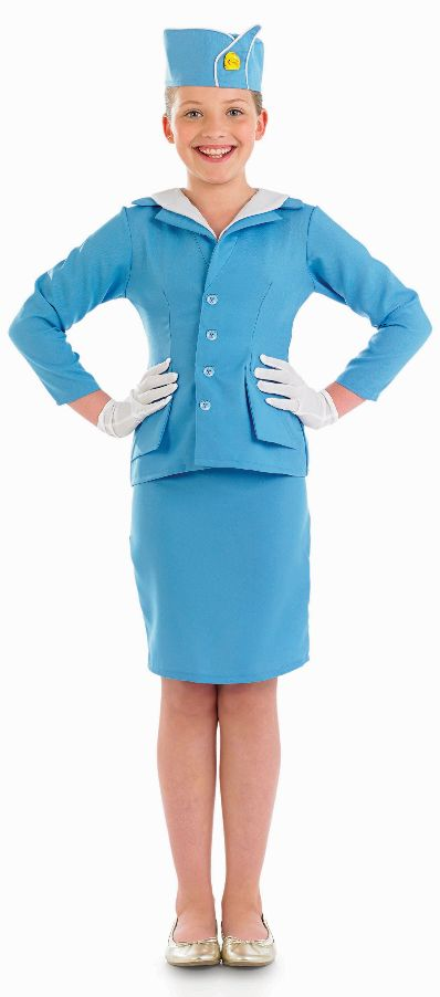 Air Hostess Girls Fancy Dress Airline Cabin Crew Uniform Childs Costume Outfit | eBay