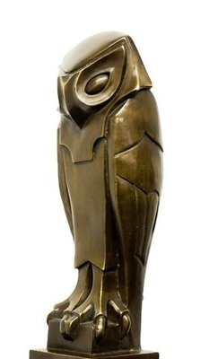 "Abstract Futurism Animal Bronze Sculpture ""Owl"", signed Umberto Boccioni"