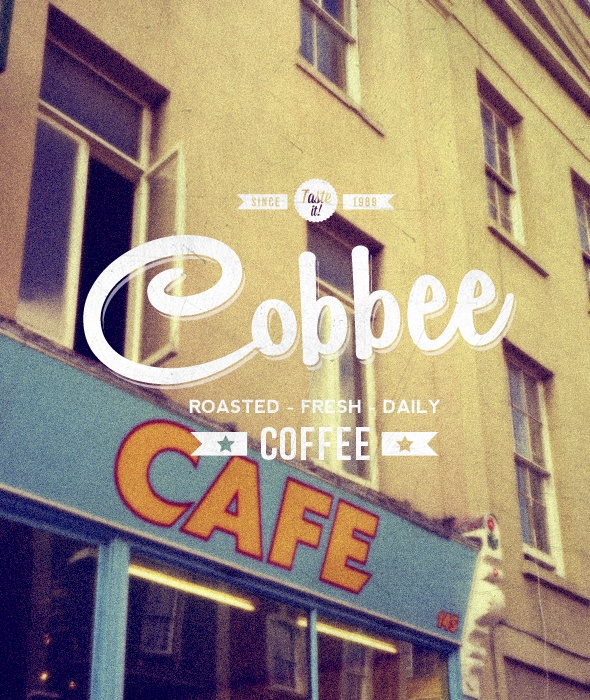 """Cobbee Coffee"" Buy from -http://graphicriver.net/item/premium-quality-8-vintage-labels-logo-badges/4622963?WT.ac=portfolio_1=portfolio_author=SAOStudio"