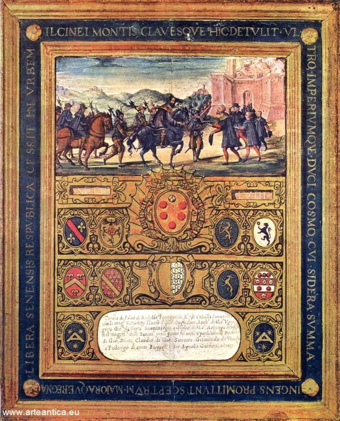 La resa di Montalcino. Del 1559, gennaio/dicembre.  Autore: Giorgio di Giovanni  Tempera su Tavola