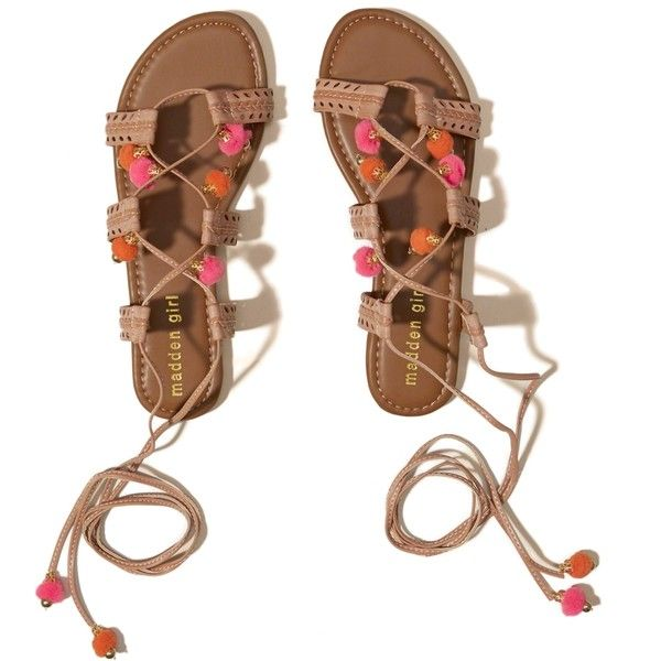 Hollister Madden Girl BAILEE Lace-Up Sandal ($49) ❤ liked on Polyvore featuring shoes, sandals, brown, boho sandals, pom pom sandals, lace up wedge sandals, strappy lace up sandals and wedge heel sandals