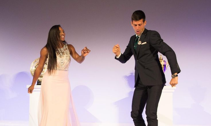 epa04844735 Novak Djokovic of Serbia (R) and Serena Williams of the US (L) dancing on stage at the Wimbledon Champions Dinner at the Guild Hall in London, Britain, 12 July 2015.  EPA/Thomas Lovelock /AELTC HANDOUT   EDITORIAL USE ONLY/NO SALES