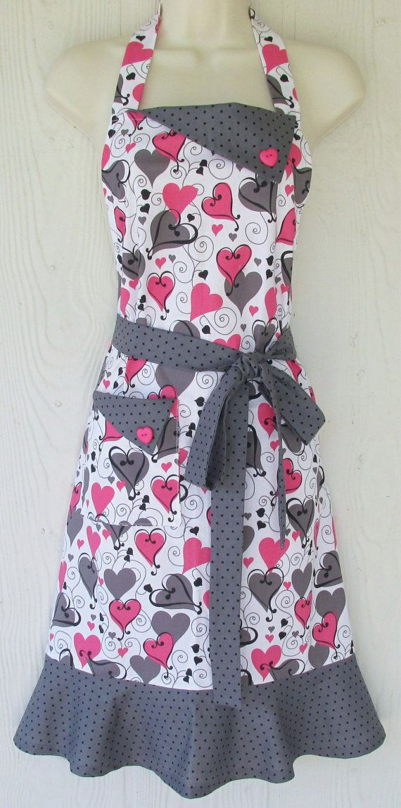 Valentine's Day Apron Retro Style Full Apron by KitschNStyle