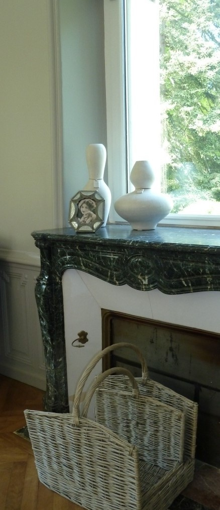 Warm French Greys in the Salon at Chateau La Perriere, Chinon, France