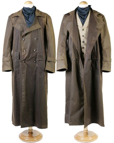 """The """"Duster Coat"""" -The original dusters were full-length, light-colored canvas or linen coats worn by horsemen to protect their clothing from trail dust. These dusters were typically slit up the back to hip level for ease of wear on horseback and were the recommended """"uniform"""" for Texas Rangers. Dusters intended for riding may have features such as a buttonable rear slit and leg straps to hold the flaps in place"""