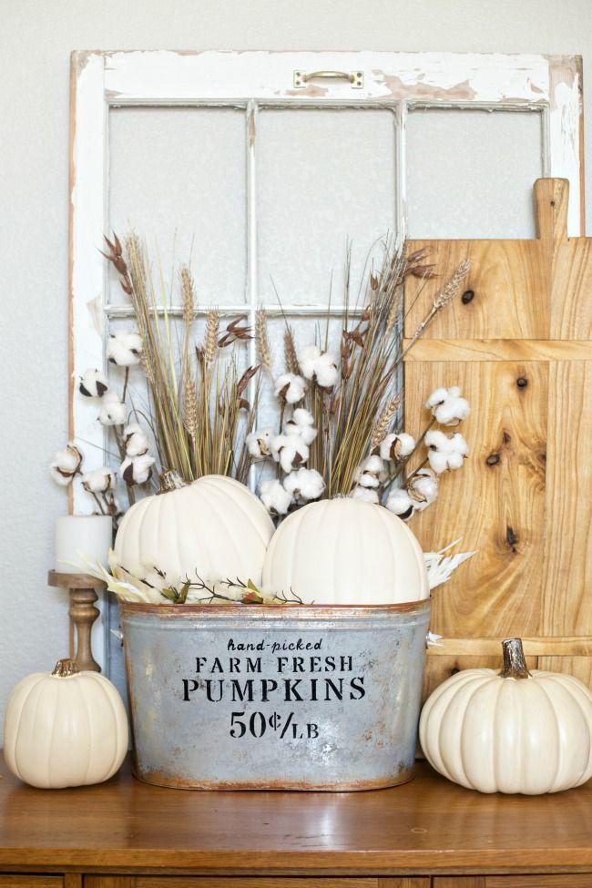 Farmhouse style pumpkin bucket fall decor project idea.