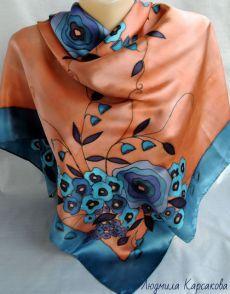 Купить Батик платок Вдохновение - цветочный, ретро стиль, Батик, батик платок, батик купить