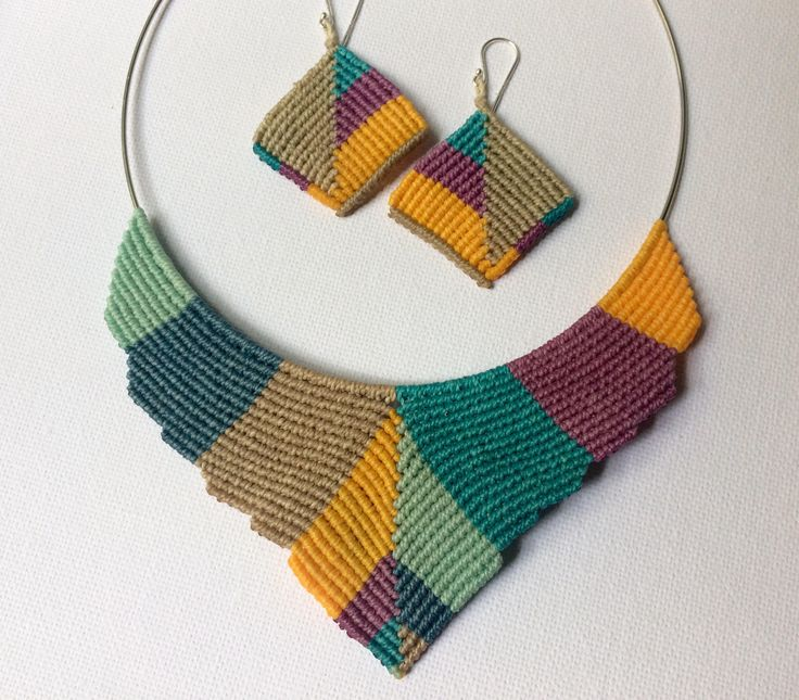 A personal favourite from my Etsy shop https://www.etsy.com/listing/534254385/colorful-macrame-set-handmade-bib