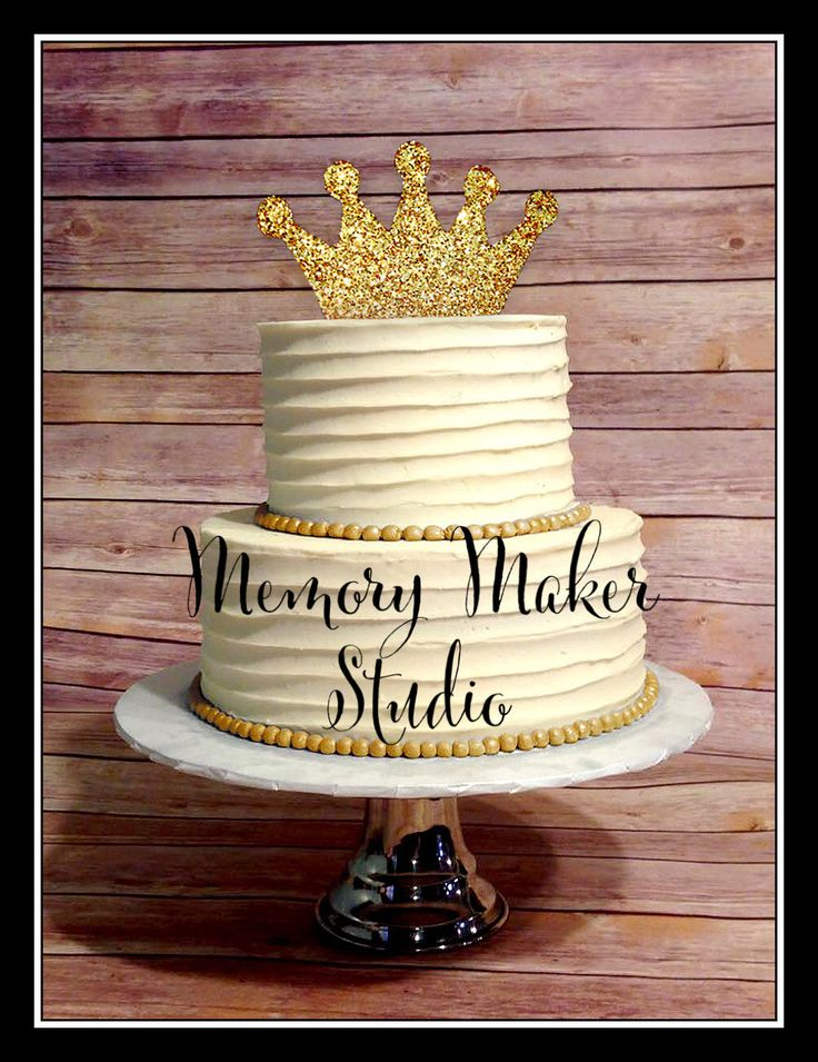 Gold Glitter Crown Cake topper IN STOCK for 1st Birthday, 2nd, 3rd, any age, Name or word, Perfect for your prince or princess, 6 inch PVC by MemoryMakerStudio on Etsy https://www.etsy.com/listing/228329239/gold-glitter-crown-cake-topper-in-stock