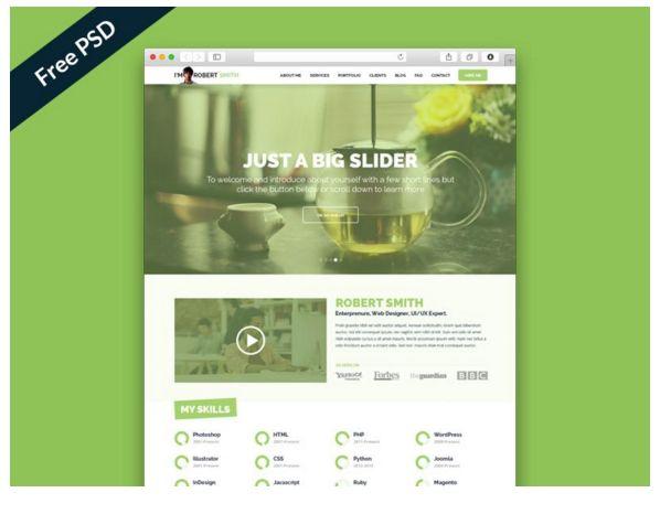 25 Free Resume PSD Website Template