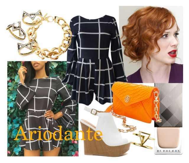 Ariodante by operawithpearls on Polyvore featuring mode, WithChic, Tory Burch, Pluma, BaubleBar, Sterling Forever and Burberry