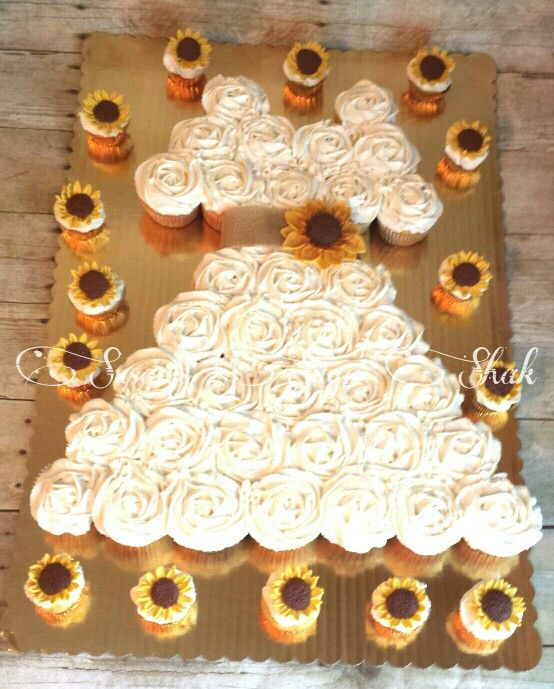 Sunflower wedding dress cupcake cake:) so cute for a shower!