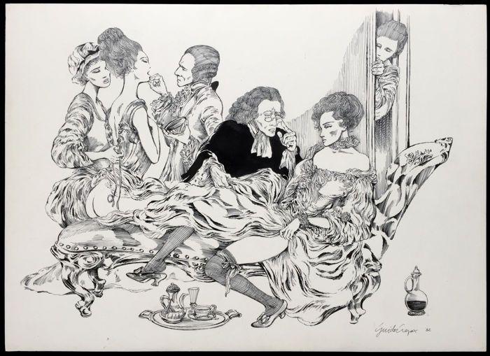 Crepax, Guido - Dessin original - Scène érotique - (1982) - W.B.