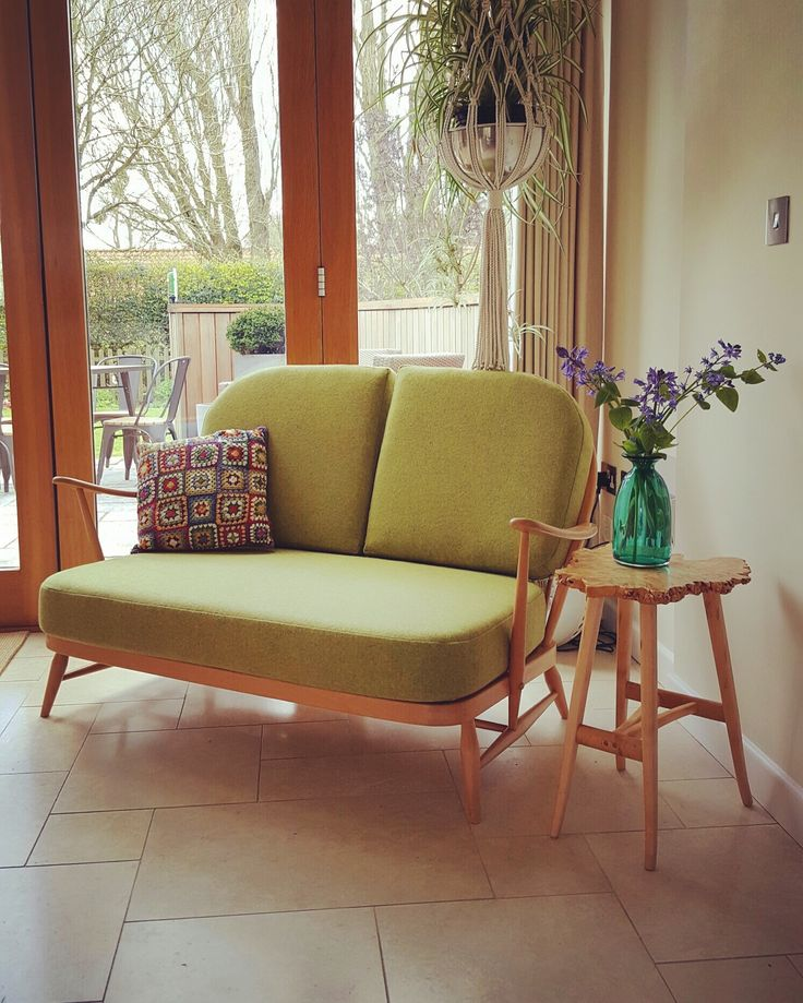 Ercol vintage Windsor Reloved Upholstery 2 seat sofa with Moon and sons fabric - customer in situ picture
