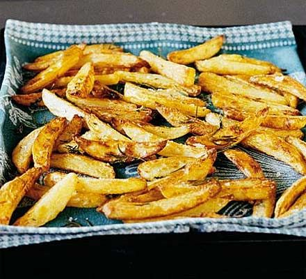 Chunky Oven Fries  Tossed in 2 tbsp of olive oil and sea salt.  Cooked for 20 min and turned every 5 min so that each side was slightly browned.  Better than deep fried!!!
