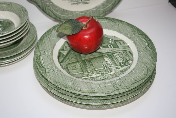 "Four 4 Vintage ""The Old Curiosity Shop"" Green Transferware Dinner Plates Royal China Sebring Ohio Village Shoppe Scene by AstridsPastTimes on Etsy"