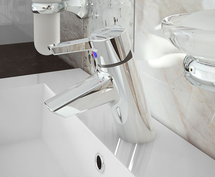 Bianco - Sleek and stylish Solaro basin mixer tap. A gloss countertop and sit-on Breeze basin work so well together to complete this modern look.