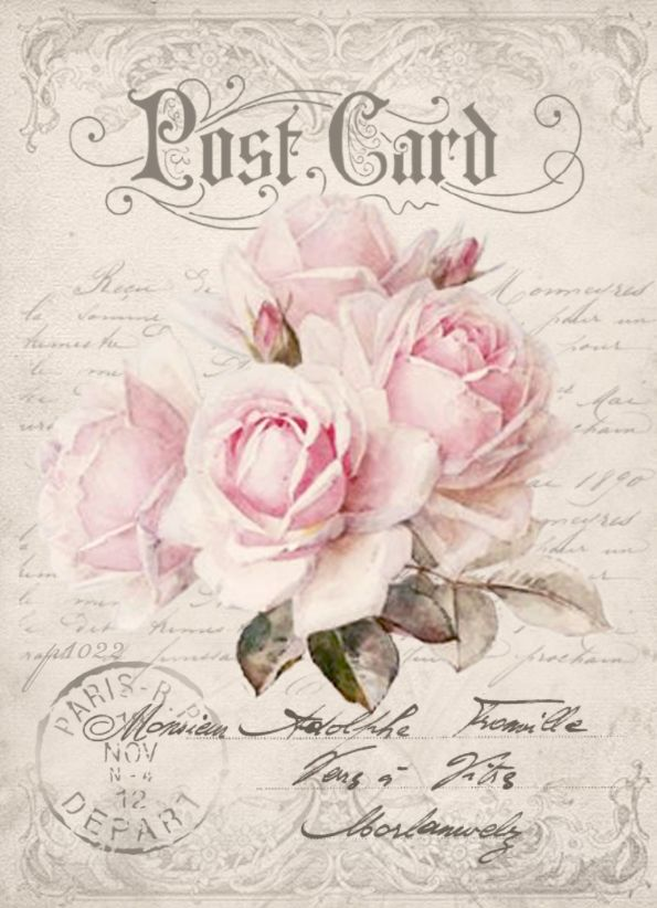 Vintage postcard rose Digital collage p1022 Free for personal use <3