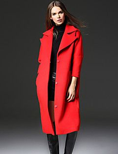 frmz iş basit coatsolid yakasını doruğa uzun kollu kış kırmızı taklit kürk / polyester orta