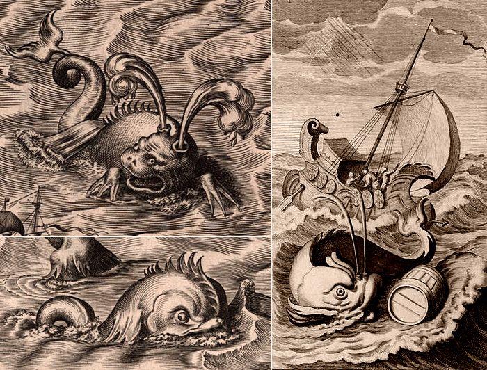 Изображения Левиафана, созданные для карты Америки гравером Иеронимом Коком (1510-1570) из  Антверпена. / Левиафан на гравюре 1710 года. Библиотека Сент-Джеймс, Великобритания.