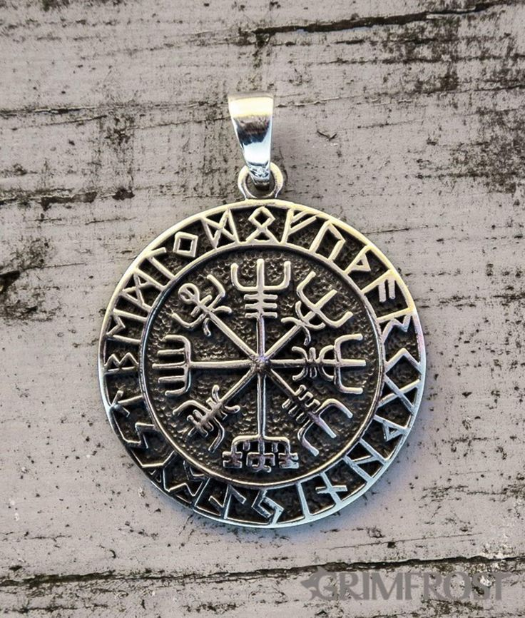"Vegvisir Amulet, Silver... The Vegvísir is an Icelandic magical symbol of navigation, also known as the ""Runic Compass"". The old Norse word translates to 'guidepost' or 'direction sign'. An old manuscript declares that ""if this sign is carried, one will never lose one's way in storms or bad weather, even when the way is not known"". http://grimfrost.com/en/viking-jewelry/silver/vegvisir-amulet-silver-1.html"