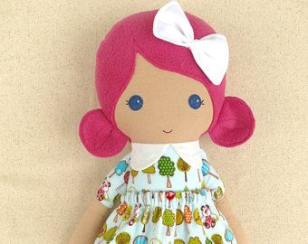 Fabric Doll Rag Doll Brown Haired Girl in Coral Floral Top and