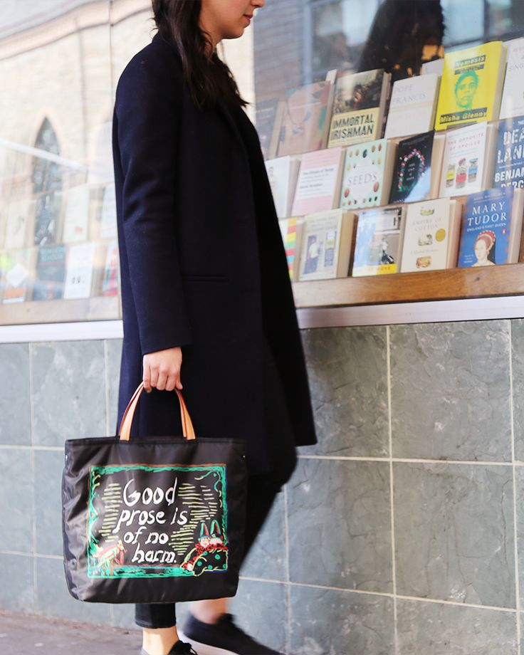 MZ Wallace Black Bedford Library Tote, a collaboration with artist Raymond Pettibon to benefit The New York Public Library.