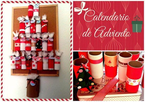 Calendario adviento con rollos de cartón