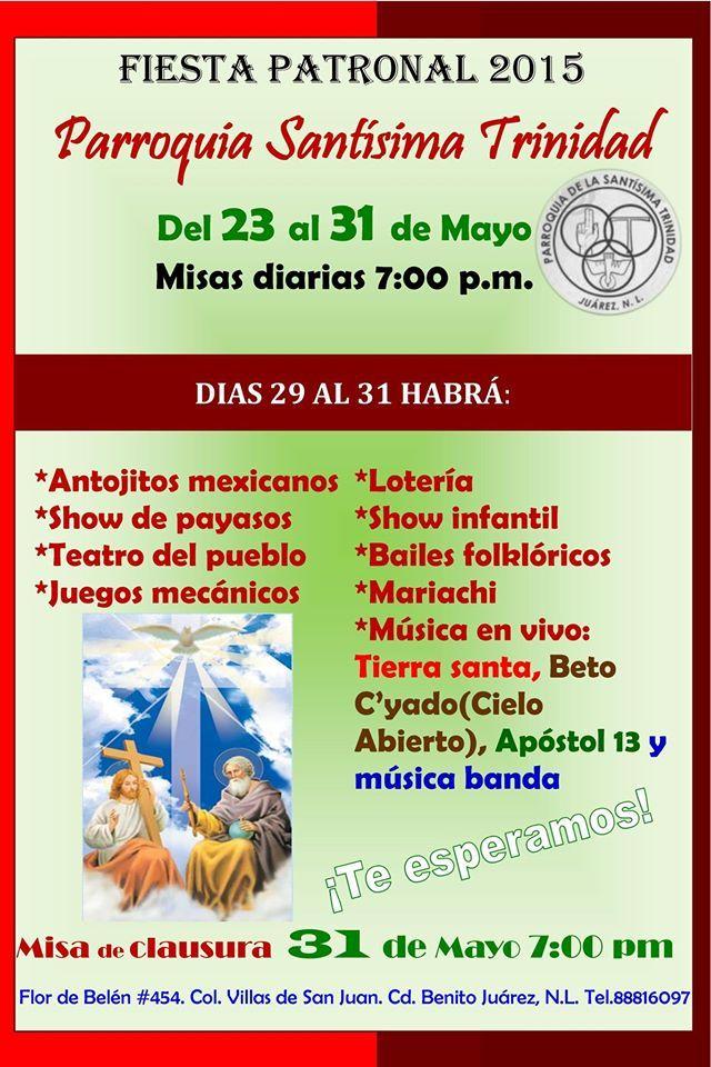 ¡Y comienza el Novenario y fiestas de la Parroquia Santisima Trinidad en Juárez, N. L.! ¡Los esperamos!