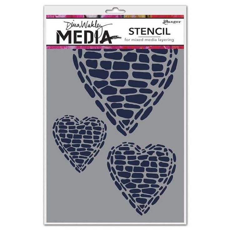Dina Wakley Media Stencil: Pebble Heart - MDS45571