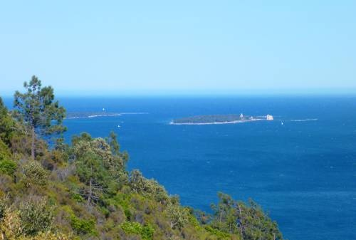 Ile Saint Honorat, in the Alpes Maritimes, Provence. View from the Esterel park.