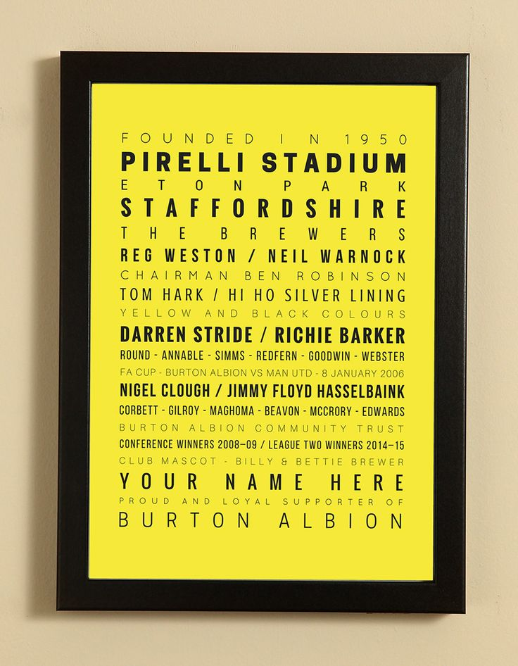 Burton Albion Football Club Word Art Design Print - Words, Names And Facts Associated With Burton Albion FC - In White Or Black A4 Box Frame