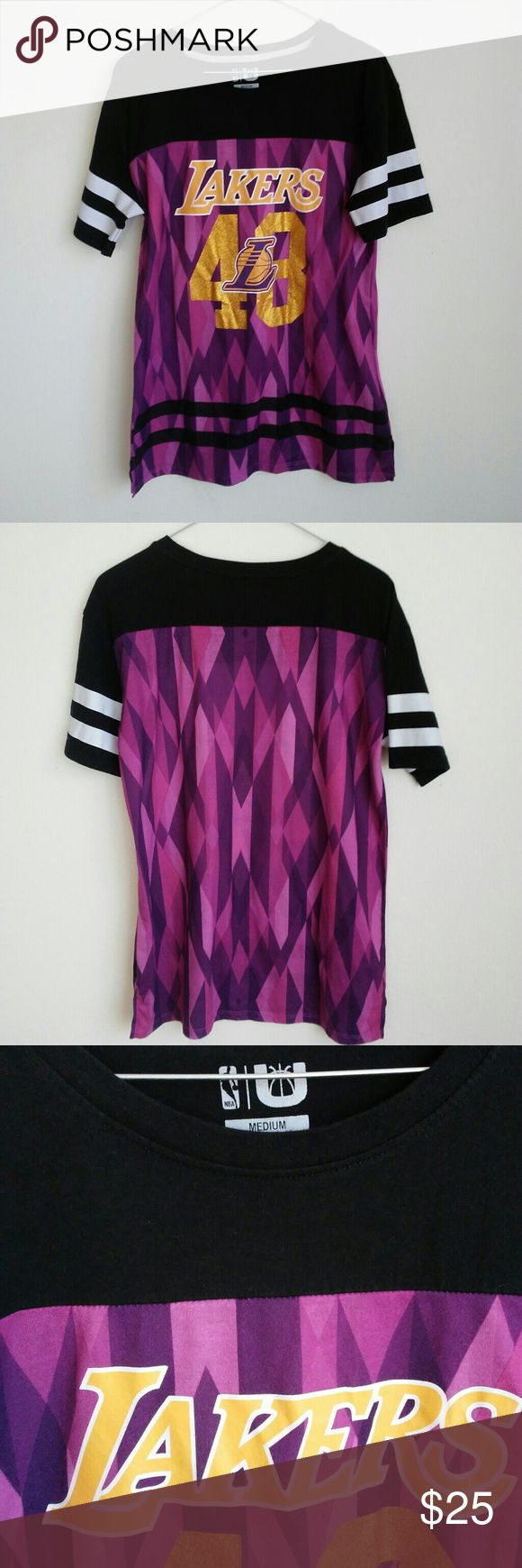 Lakers Shirt Purple Black White Stripes Perfect for the Lakers fan. Pre owned. No trades. Tops Tees - Short Sleeve