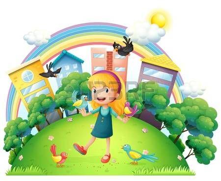 niños y la tierra: Ilustración de una chica joven con una gran cantidad de aves en un fondo blanco
