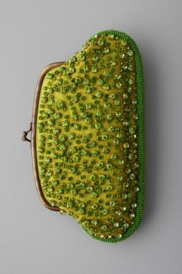 green beaded purse, a bit retro and unusual, and casual at the same time.