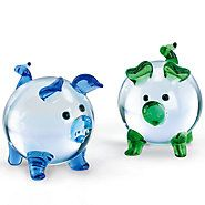 836836-Clear Pig Art Glass Figurine Set