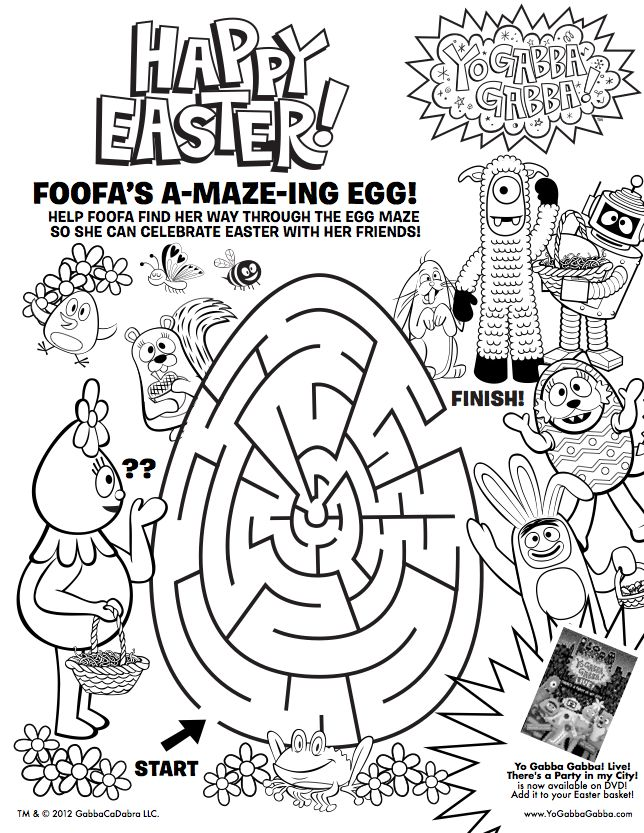 print this free yogabbagabba coloring sheet for your easter baskets