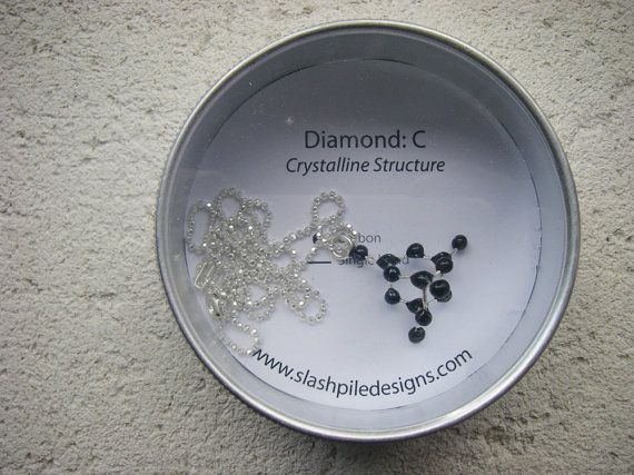 """Diamond Molecule Necklace, An affordable diamond necklace!  This elegant necklace is based on the crystalline structure of carbon that makes up the diamond molecule. A funny, clever gift for any chemist or scientist!   The molecular structure is fabricated in sterling silver and the black carbon atoms are each painted by hand with enamel. Comes on an 18"""" sterling silver faceted ball chain."""